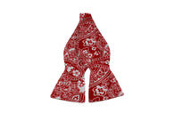 Red Floral Seersucker Bow Tie - Fine And Dandy