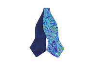 Metallic Blue Paisley Reversible Bow Tie - Fine And Dandy