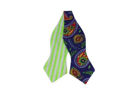 Paisley & Neon Striped Reversible Bow Tie - Fine And Dandy