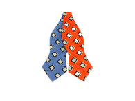 Orange & Blue Geometric Reversible Bow Tie - Fine And Dandy