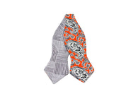 Orange & Grey Paisley Reversible Bow Tie