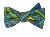 Green Garden Print Cotton Bow Tie