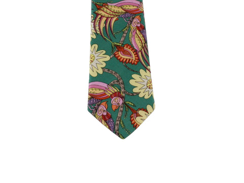 Green Birds Cotton Tie - Fine And Dandy