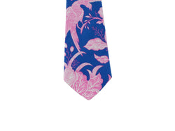 Electric Blue Floral Cotton Tie - Fine And Dandy
