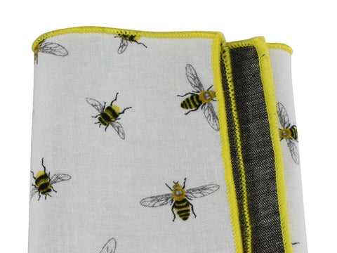 Bees & Chambray Panelled Pocket Square - Fine And Dandy