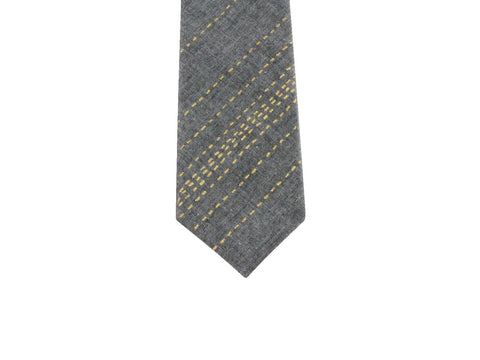 Gold Dotted Stripe Tie - Fine and Dandy