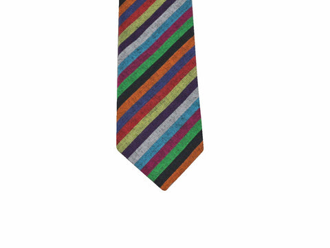 Multicolored Striped Cotton Tie - Fine and Dandy