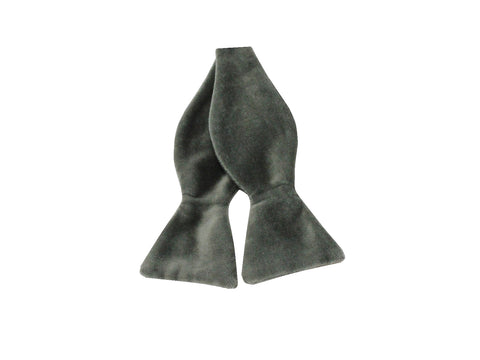 Pewter Velvet Bow Tie - Fine and Dandy