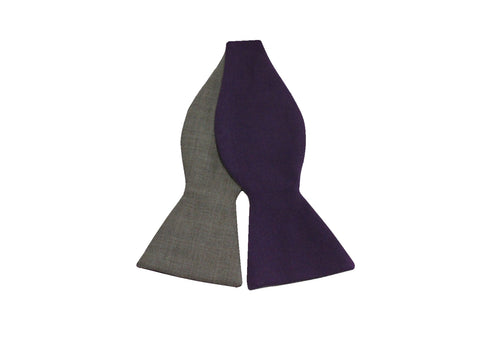 Purple & Sand Reversible Bow Tie - Fine and Dandy