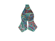 Teal Paisley Cotton Bow Tie - Fine and Dandy
