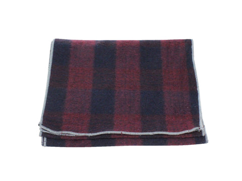 Burgundy Check Wool Scarf - Fine And Dandy