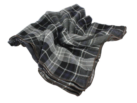 Grey Check Wool Blanket Scarf - Fine And Dandy