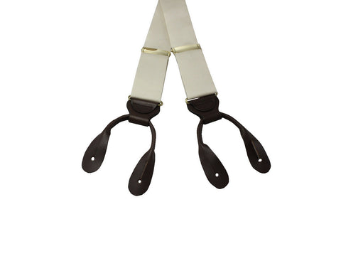 Cream Raw Silk Suspenders - Fine And Dandy