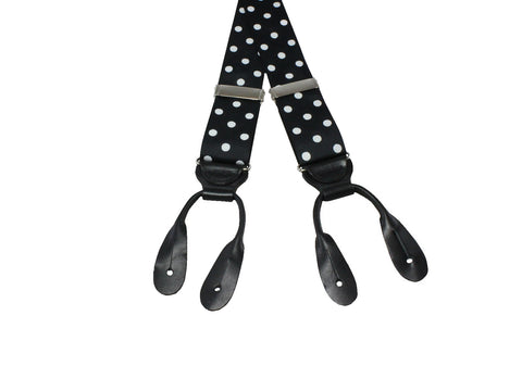 Black & White Polka Dot Grosgrain Suspenders - Fine And Dandy