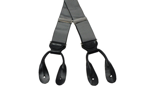 Black & Silver Grosgrain Suspenders - Fine And Dandy