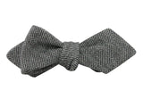 Grey Herringbone Wool Bow Tie - Fine and Dandy