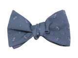 Blue Paisley Cotton Bow Tie - Fine and Dandy