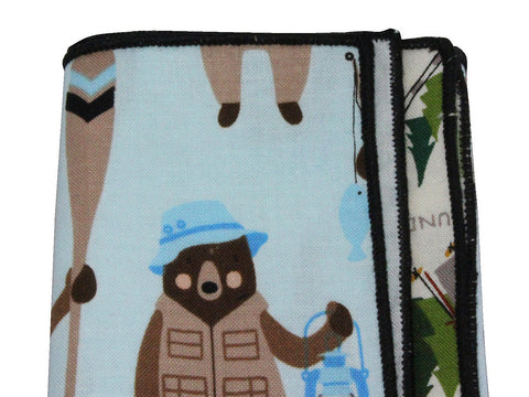 Camping Bear Panelled Pocket Square - Fine And Dandy