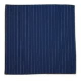 Blue Embroidered Striped Cotton Pocket Square - Fine And Dandy