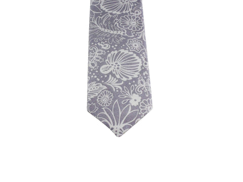 Grey Floral Cotton Tie - Fine and Dandy