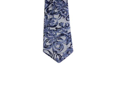 Blue Floral Silk Tie - Fine and Dandy