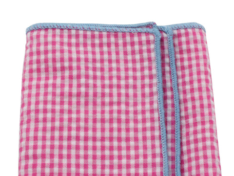 Pink Gingham Seersucker Pocket Square - Fine and Dandy