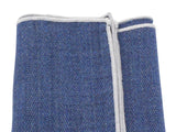 Blue Herringbone Linen Blend Pocket Square - Fine And Dandy