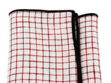 Red Check Linen Pocket Square - Fine and Dandy