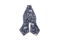 Grey Paisley Cotton Bow Tie - Fine and Dandy