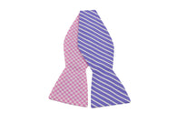 Gingham & Striped Reversible Bow Tie - Fine and Dandy