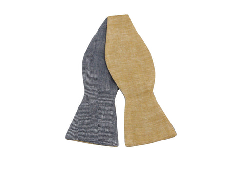 Linen Reversible Bow Tie - Fine and Dandy