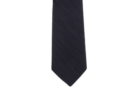 Midnight Blue Ribbed Silk Tie - Fine and Dandy