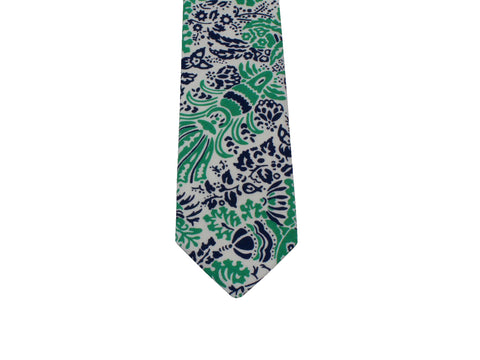 Green Toile Cotton Tie - Fine and Dandy