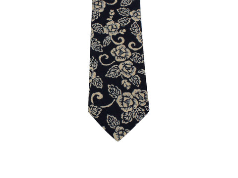 Indigo Floral Cotton Tie - Fine and Dandy