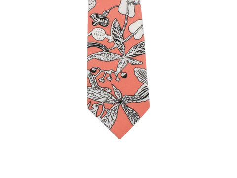Peach Floral Silk Tie - Fine and Dandy