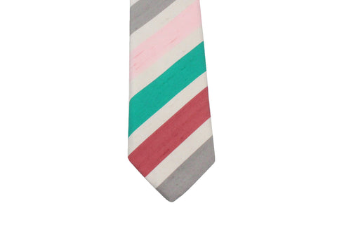 Pink Bold Striped Silk Tie - Fine and Dandy