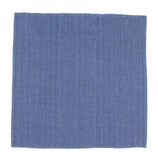 Blue Herringbone Linen Blend Pocket Square