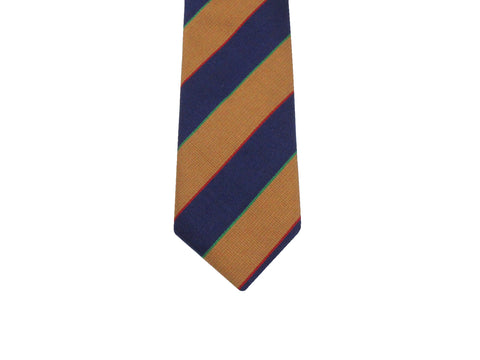Gold & Navy Striped Silk Tie - Fine and Dandy
