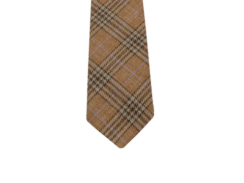 Tan Plaid Wool Tie - Fine and Dandy