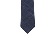 Navy Plaid Wool Tie - Fine and Dandy