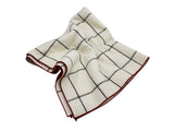 Cream Windowpane Wool Blanket Scarf - Fine And Dandy