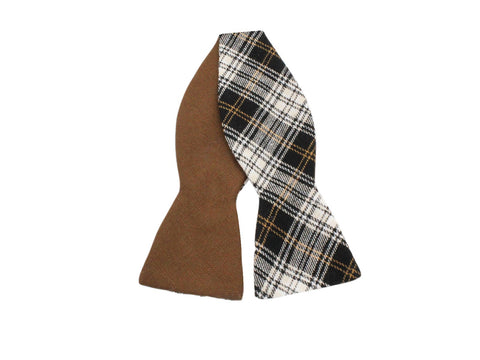 Brown Check Reversible Bow Tie - Fine And Dandy