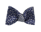 Blue Floral Reversible Bow Tie - Fine And Dandy