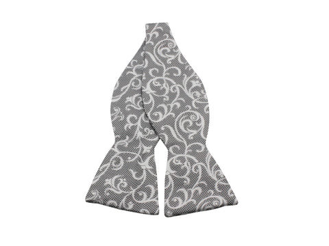 Silver Floral Silk Bow Tie - Fine And Dandy