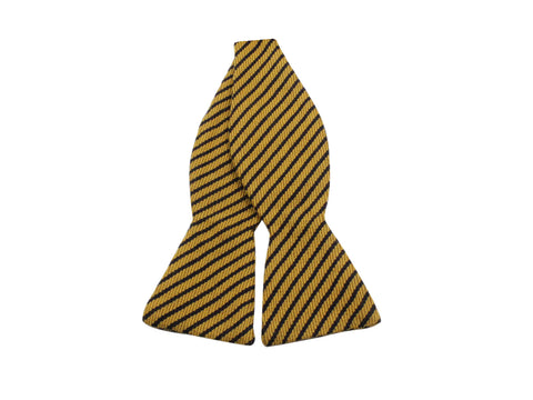 Gold Striped Cashmere Bow Tie - Fine And Dandy