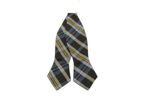 Grey Plaid Cotton Bow Tie - Fine and Dandy