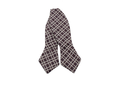 Brown Check Cotton Bow Tie - Fine And Dandy