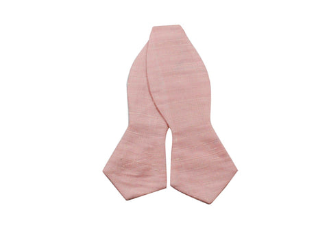 Pink Raw Silk Bow Tie - Fine And Dandy