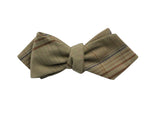 Tan Plaid Cotton Bow Tie - Fine and Dandy