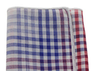 Red, White & Blue Check Cotton Pocket Square - Fine And Dandy